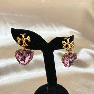 Tory Burch Heart-Shaped Crystal Logo Earrings